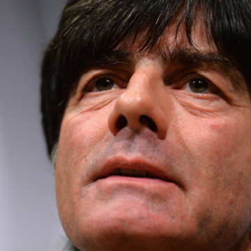 STOCKHOLM, SWEDEN - OCTOBER 14:  Head coach Joachim Loew looks on during a Germany press conference at the Sheraton Hotel on October 14, 2013 in Stockholm, Sweden.  (Photo by Lars Baron/Bongarts/Getty Images)